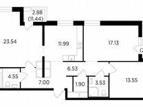 3-к. квартира, 93,5 м², 25/25 эт.