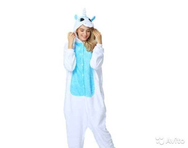 Пижама кигуруми единорог бело голубой Рост 130 см— фотография №1 eb96a28444542