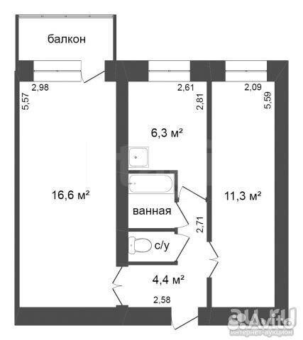Продается двухкомнатная квартира за 2 380 000 рублей. г Красноярск, ул Парашютная, д 80.