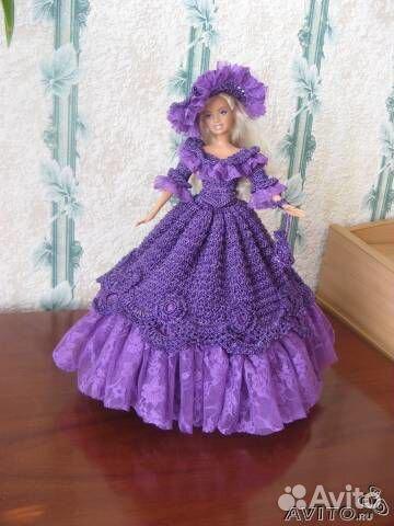 роскошная вязаная одежда для кукол типа барби купить в санкт
