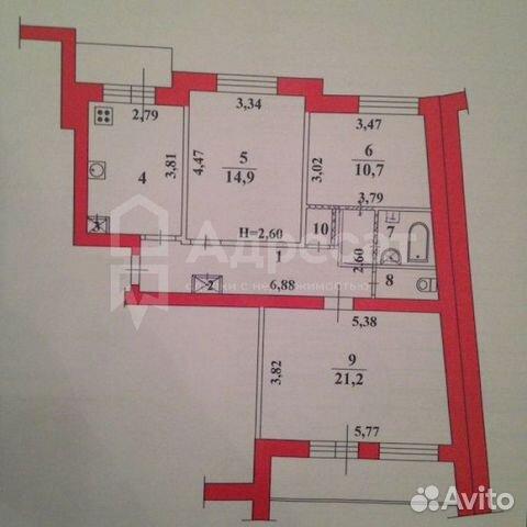 3-к квартира, 73.3 м², 6/9 эт. 89377113975 купить 5