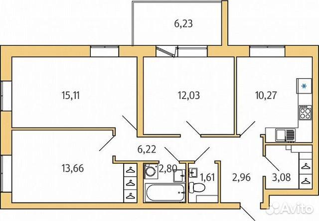 3-к квартира, 72.7 м², 4/5 эт.