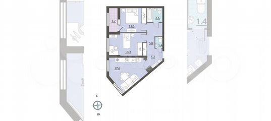2-к квартира, 61.1 м², 12/32 эт. в Свердловской области | Покупка и аренда квартир | Авито