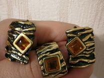 Кольцо и серги Балтийское золото с янтарем