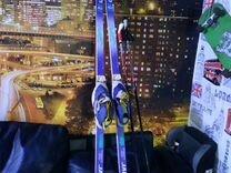 Беговые лыжи+ ботинки 39-40+ крепления+ палки