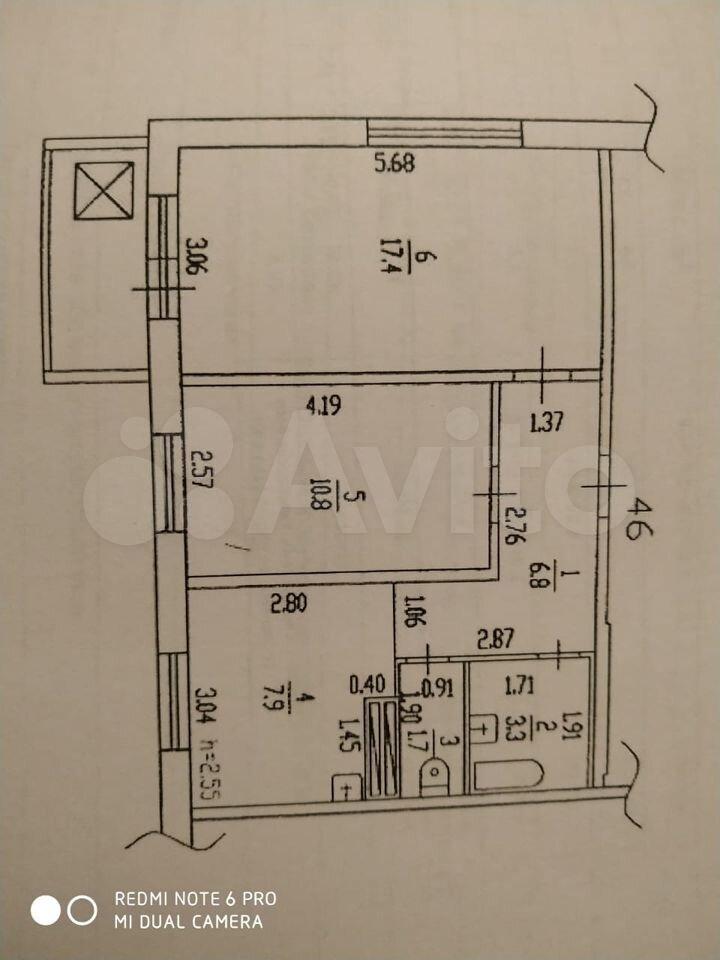 2-к квартира, 50 м², 10/10 эт.  89530370559 купить 1